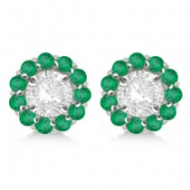 Round Emerald Earring Jackets for 6mm Studs 14K White Gold (1.20ct)