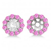 Round Pink Sapphire Earring Jackets 6mm Studs 14K White Gold (1.20ct)