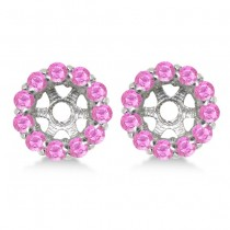 Round Pink Sapphire Earring Jackets 8mm Studs 14K White Gold (1.44ct)