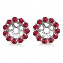 Round Ruby Earring Jackets for 5mm Studs 14K White Gold (1.08ct)