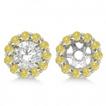 Round Yellow Diamond Earring Jackets for 5mm Studs 14K W. Gold (0.77ct)