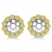 Round Yellow Diamond Earring Jackets for 6mm Studs 14K W. Gold (0.80ct)