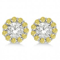 Round Yellow Diamond Earring Jackets for 8mm Studs 14K W. Gold (1.00ct)