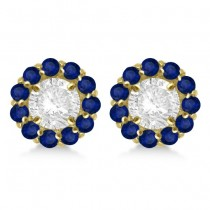 Round Blue Sapphire Earring Jackets 5mm Studs 14K Yellow Gold (1.08ct)