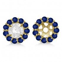 Round Blue Sapphire Earring Jackets 6mm Studs 14K Yellow Gold (1.20ct)