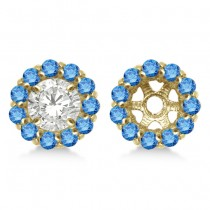 Round Blue Diamond Earring Jackets for 4mm Studs 14K Yellow Gold (0.64ct)