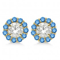 Round Blue Diamond Earring Jackets for 5mm Studs 14K Yellow Gold (0.77ct)