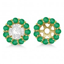 Round Emerald Earring Jackets for 4mm Studs 14K Yellow Gold (0.96ct)