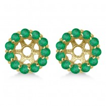 Round Emerald Earring Jackets for 5mm Studs 14K Yellow Gold (1.08ct)