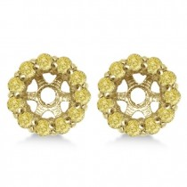 Round Yellow Diamond Earring Jackets for 4mm Studs 14K Y. Gold (0.64ct)