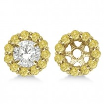 Round Yellow Diamond Earring Jackets for 5mm Studs 14K Y. Gold (0.77ct)