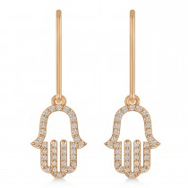 Hand of God Hamsa Dangling Diamond Earrings 14k Rose Gold (0.36ct)