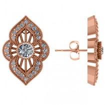 Diamond Antique Style Milgrain Earrings 14k Rose Gold (0.98ct)
