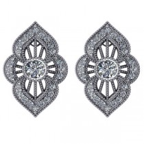 Diamond Antique Style Milgrain Earrings 14k White Gold (0.98ct)