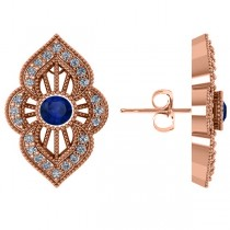 Diamond and Blue Sapphire Antique Earrings 14k Rose Gold (1.12ct)
