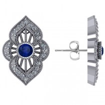 Diamond and Blue Sapphire Antique Milgrain Earrings 14k White Gold (1.12ct)