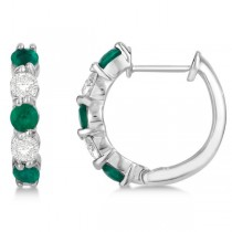 Prong Set Emerald & Diamond Hoop Earrings 14k White Gold 1.64ct
