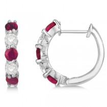 Prong Set Ruby & Diamond Hoop Earrings 14k White Gold 1.94ct