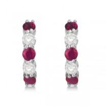 Prong Set Ruby & Diamond Hoop Earrings 14k White Gold 1.94ct