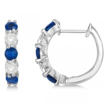 Prong Set Blue Sapphire & Diamond Hoop Earrings 14k White Gold 2.06
