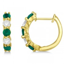 Prong Set Emerald & Diamond Hoop Earrings 14k Yellow Gold 1.64ct