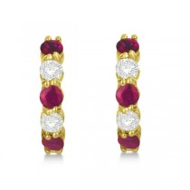 Prong Set Ruby & Diamond Hoop Earrings 14k Yellow Gold 1.94ct