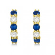 Prong Set Blue Sapphire & Diamond Hoop Earrings 14k Yellow Gold 2.06