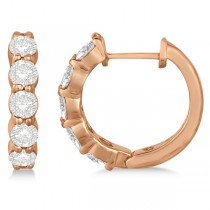 Hinged Hoop Diamond Huggie Style Earrings in 14k Rose Gold (1.51ct)