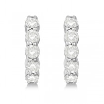 Hinged Hoop Diamond Huggie Style Earrings in 14k White Gold (1.51ct)