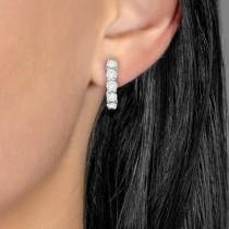 Hinged Hoop Diamond Huggie Style Earrings in 14k White Gold (1.51ct)