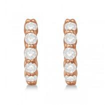 Hinged Hoop Diamond Huggie Style Earrings in 14k Rose Gold (1.00ct)