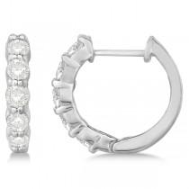 Hinged Hoop Diamond Huggie Style Earrings in 14k White Gold (1.00ct)