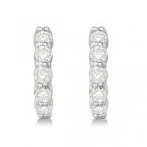 Hinged Hoop Diamond Huggie Style Earrings in 14k White Gold (1.00ct)|escape