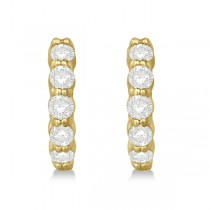 Hinged Hoop Diamond Huggie Style Earrings in 14k Yellow Gold (1.00ct)