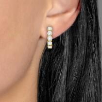 Hinged Hoop Diamond Huggie Style Earrings in 14k Yellow Gold (1.00ct)