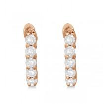 Hinged Hoop Diamond Huggie Style Earrings in 14k Rose Gold (0.25ct)