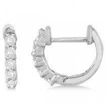 Hinged Hoop Diamond Huggie Style Earrings in 14k White Gold (0.25ct)