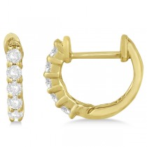 Hinged Hoop Diamond Huggie Style Earrings in 14k Yellow Gold (0.25ct)