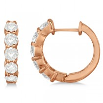 Hinged Hoop Diamond Huggie Style Earrings in 14k Rose Gold (2.00ct)