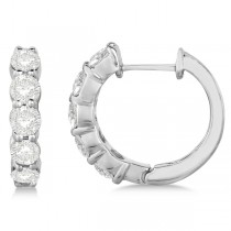 Hinged Hoop Diamond Huggie Style Earrings in 14k White Gold (2.00ct)