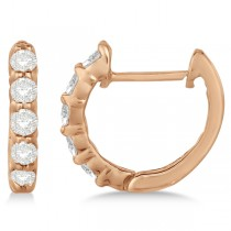 Hinged Hoop Diamond Huggie Style Earrings in 14k Rose Gold (0.33ct)