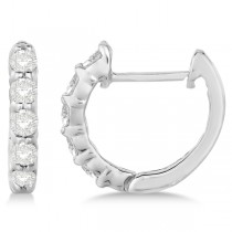 Hinged Hoop Diamond Huggie Style Earrings in 14k White Gold (0.33ct)