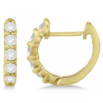 Hinged Hoop Diamond Huggie Style Earrings in 14k Yellow Gold (0.33ct)