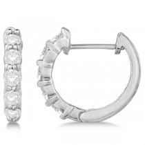 Hinged Hoop Diamond Huggie Style Earrings in 14k White Gold (0.50ct)