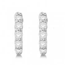 Hinged Hoop Diamond Huggie Style Earrings in 14k White Gold (0.50ct)|escape
