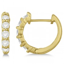 Hinged Hoop Diamond Huggie Style Earrings in 14k Yellow Gold (0.50ct)