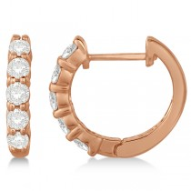 Hinged Hoop Diamond Huggie Style Earrings in 14k Rose Gold (0.75ct)