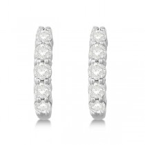 Hinged Hoop Diamond Huggie Style Earrings in 14k White Gold (0.75ct)|escape