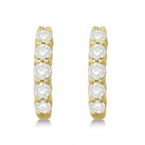 Hinged Hoop Diamond Huggie Style Earrings in 14k Yellow Gold (0.75ct)