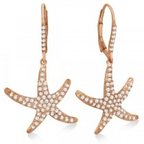 Dangling Starfish Diamond Earrings Pave Set 14k Rose Gold (1.17ct)